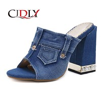 ELVIRAS New crystal thick with denim women's sandals in high heel fish mouth women's shoes buckle personality shoes 35-40