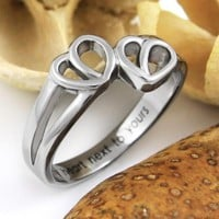 "Couples Ring, Love Gift - Double Hearts Couples Ring Engraved on Inside with ""My Heart Next to Yours"", Sizes 6 to 9"