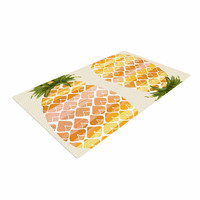 "Judith Loske ""Happy Pineapples "" Yellow Gold Woven Area Rug"