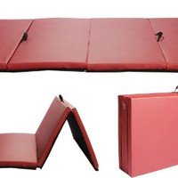"""Burgundy New 4'x8'x2""""Thick Folding Panel Gymnastic Mat Gym Fitness Exercise Mat R4"""