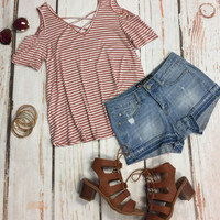 Stripe Along Cold Shoulder Top: Rose