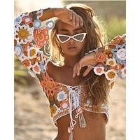Flower Crochet Bambi Crop Top Bell Sleeves Multi Color Lace Up Festival Top Or Beach Wear Made From Crocheted Flowers Small Medium Or Large