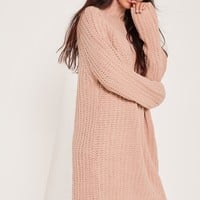 Missguided - Oversize Mini Jumper Dress Pink