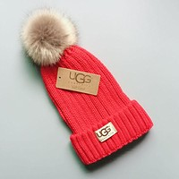 UGG Winter Hot Sale Trending Couple Stylish Warm Knit And Pom Hat Cap Red