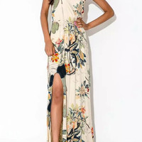 Floral Print Sleeveless Maxi Dress with Slit