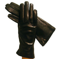 Black Simple but Elegant Italian Leather Gloves Cashmere-lined