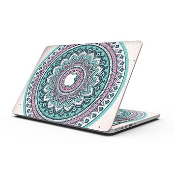 Green and Pink Circle Mandala v9 - MacBook Pro with Retina Display Full-Coverage Skin Kit