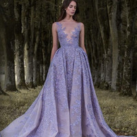 Lavender Paolo Sebastian 2017 Prom Dresses Full Leaf Applique Dress Sheer Neck Sleeveless Vintage Long Formal Party Gowns 2016