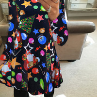 Newest HOT Christmas Snowflake long sleeve printed Santa Claus dress o-neck casual New year dress for Christmas A-line dresses