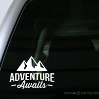 Adventure Awaits Decal - Vinyl Sticker, Vinyl Decal - Car Decal, Laptop Sticker, Window or Bumper Sticker