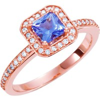 14kt Rose Gold Tanzanite & Diamond Square Halo Engagement Ring