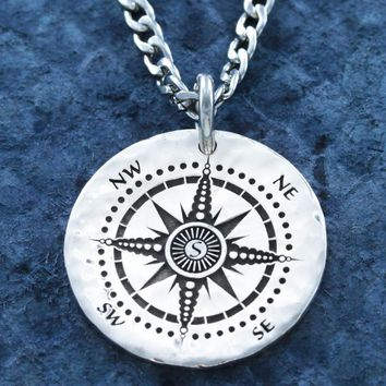 """Silver Compass necklace, Engraved into a Hammered Silver Coin, with """"Love you to the Moon & Back"""" engraved on the back"""