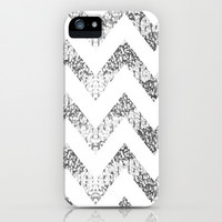 Silver Glittery Chevron Pattern iPhone & iPod Case by PinkBerryPatterns