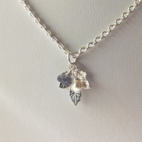 Silver Leaf Pearl Iolite Charm Necklace Bridal Jewelry Bridesmaid Necklace Christmas Gift
