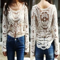 Semi Sexy Sheer Sleeve Embroidery Floral Lace Crochet Tee Top T shirt Vintage:Amazon:Sports & Outdoors