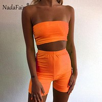 FSDA Neon 2019 Zomer Tweedelige Set Backless De Schouder Bodycon Trainingspak Crop Tops En Biker Shorts Vrouwen Sexy