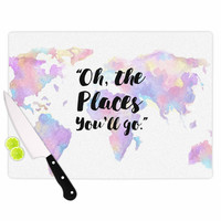 """Kess Original """"The Places You'll Go """" Purple Yellow Cutting Board"""