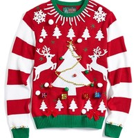 Junior Women's Ugly Christmas Sweater Striped Sleeve Make-Your-Own Sweater Kit