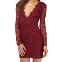 V-neck Long Sleeves Backless Lace Bodycon Mini Dress