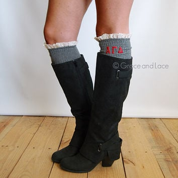 Alpha Gamma Delta Sorority Boot Socks cable knit boot sock with ruffled ivory lace & sorority letters