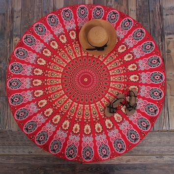 Round Red Print Mandala Roundie Round Beach Throw Tapestry, Hippy Boho Gypsy Cotton Table Cloth Beach Towel, Round Yoga Mat 12142 Diameter 147cm