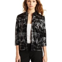 Notations Women`s Open Front Cellaphane Jacket