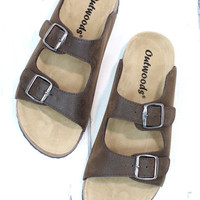Classic Bork Slide On Sandals Oiled Leather Look {Brown}
