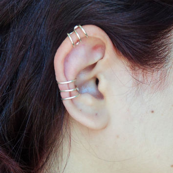 Set of two three rings ear cuff/ one regular and one helix wire wraped cartilage fake piercing gold or silver/ clip on