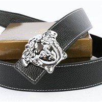Versace Belt Men's Black Leather Belt Vercase Collection