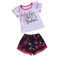 Cute born Baby Girl Clothing Set Toddler Kids 2PCS Outfits Sunshine Floral Tops+ Tassel Bottoms Clothes Set