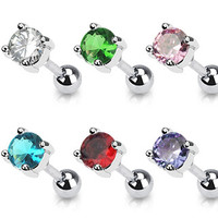 16g Prong Set Gem Cartilage Earring Stud Body Jewelry Piercing with Surgical Steel Barbell 16 Gauge
