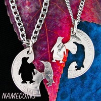 Penguin Couple Necklace, Hand cut coin Jewelry
