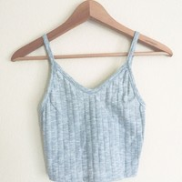 Cindy V-Neck Ribbed Heather Gray Tank