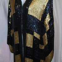 Evening Jacket Coat, Liquid Sequins, Gold and Black AB, Special Occasion, Party Cocktail, Resort Cruise Wear, Plus Size 2x, Vogue Design