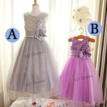 20% OFF!!! Sliver(Gray)/Purple Sequins Wavy Tulle Skirt Flower Girl /Junior Bridesmaid /Birthday Party Dress with Sash/Ruffle Flower(Z1008)