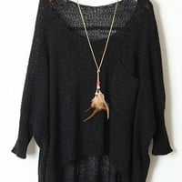 Black Batwing Sleeve High-Low Sweater