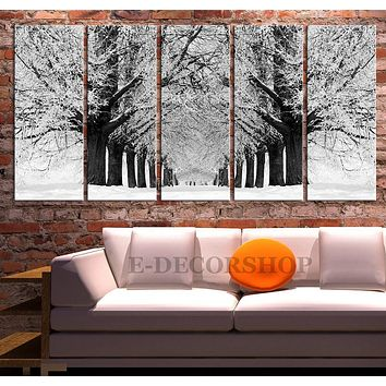 Large Wall Art Snowy Forest in Winter Canvas Print Parkway Canvas Painting Tree Canvas Print