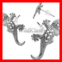 Pair of .925 Sterling Silver CZ Paved Gems Lizard Tiny Stud Earrings Cartilage Earring Helix Jewelry Tragus Piercing Hex Conch Auricle