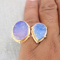 18k Gold Plated Ring - Purple Druzy Ring - Handmade Ring - Druzy Statement Ring - Brass Ring - Oval Gemstone Ring - Everyday Wear Ring