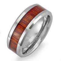 Tungsten Carbide Men's Ladies Unisex Ring Wedding Band 8MM (5/16 inch) Flat Beveled Edges Shiny Wood Inlay Comfort Fit (Available in Sizes 8 to 12)