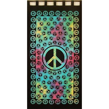 Tab Top Curtain Peace Sign Drape 44x88 Black Blue Green Red Kitchen Door Panel