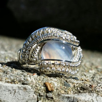 Size 7 Flourite Gemstone Cabochon Ring Wrapped 925 Sterling Silver
