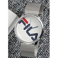 FILA Tide brand new men and women models simple fashion quartz watch Silver