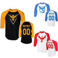 Pokemon Go Team Men's T-shirt Valor Team Mystic Team Instinct Half Sleeve O neck Men's  T-shirt Pokeball Men T shirt Male Tees