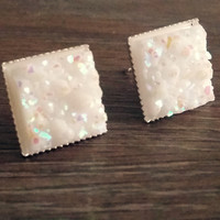 Druzy earrings-  Opal white chunky square drusy silver tone stud druzy earrings