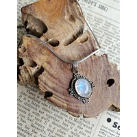 Blue moonstone vintage bali tribal sterling silver pendant necklace