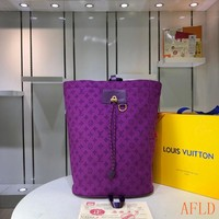 HCXX 19Aug 588 Louis Vuitton LV M44617 Fashion Print Large Bucket Chalk Backpack 31-42-21cm