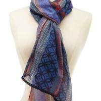 Multi Lace-Trimmed Mixed Print Scarf by Charlotte Russe