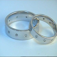 0.40ct Wedding Rings Matching Round Diamonds 14kt White Gold JEWELFORME BLUE