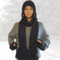 Cable Scarf Hat and Fingerless Gloves Set Alpaca Blend, Winter Is Coming